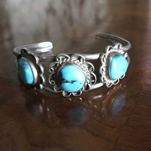 Jewelry - Vintage turquoise sterling cuff bracelet